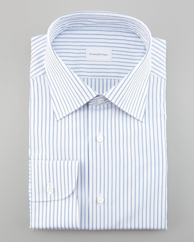 Lyst Ermenegildo Zegna Striped Dress Shirt In White For Men