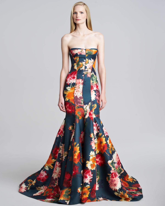Lyst - J. Mendel Floral Gazar Strapless Gown