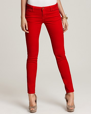 Michael kors Michael Colored Skinny Jeans in Red | Lyst