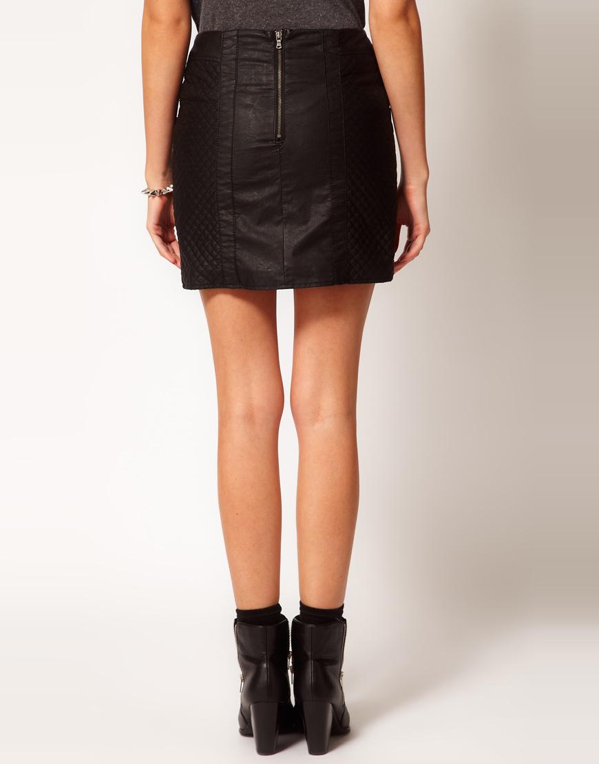 Lyst Oasis Leather Look Biker Mini Skirt In Black