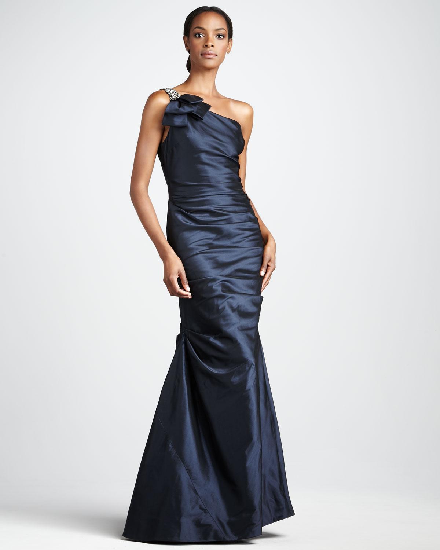 Lyst - Teri Jon Oneshoulder Taffeta Gown in Blue