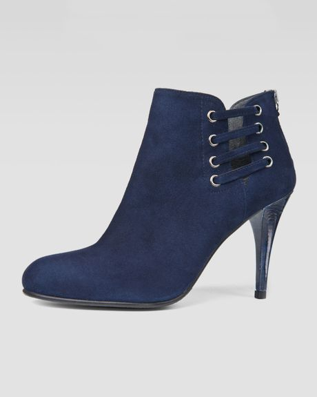 stuart weitzman hotline suede laceup ankle boot blue in
