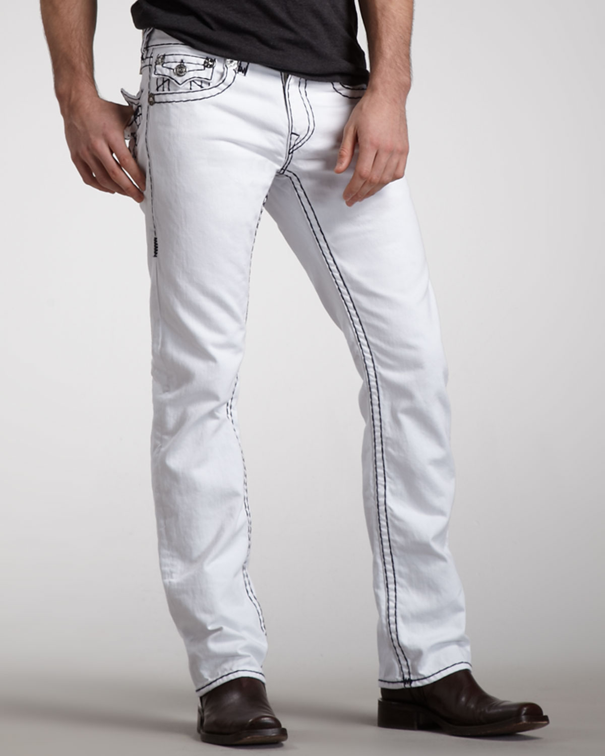 True religion Ricky Optic Rinse Super T Jeans in White for Men | Lyst