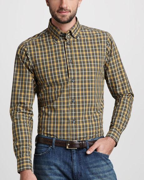 Zegna sport plaid button down shirt in yellow for men for Mens button down sport shirts