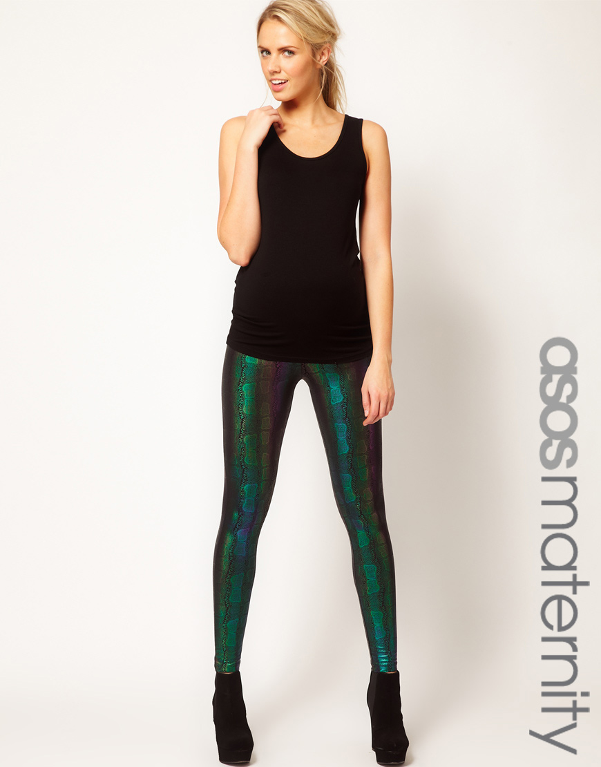 ff5af046fb24f ASOS Leggings in Metallic Snake Print in Green - Lyst