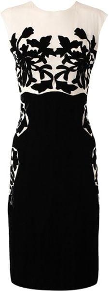 Bottega Veneta Silk Dress with Velvet Applique in White (ivory)