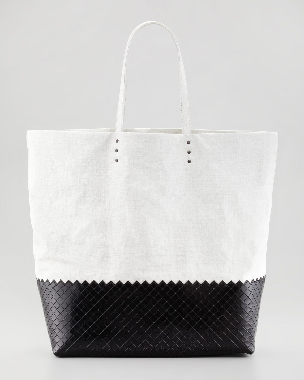 4fabe831931f Lyst - Bottega Veneta Large Coated Linen Tote Bag Off White in Black