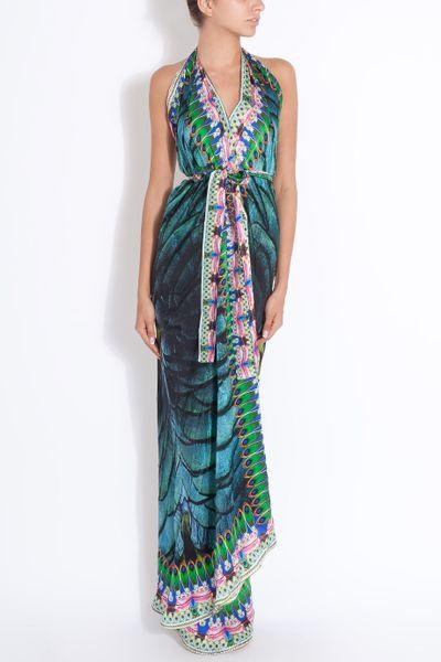 Camilla Kingfisher Long Wrap Dress In Green Lyst