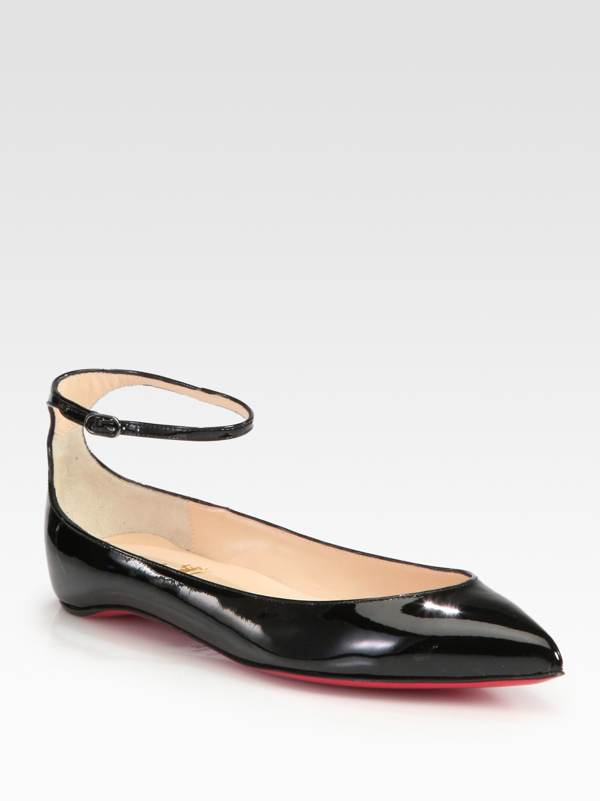 52693df4e4 ... black flats pigalle spiked ballerina a8bb1 36ca0; best price lyst christian  louboutin mrs h patent leather ankle strap flats in 56d2d 726fd