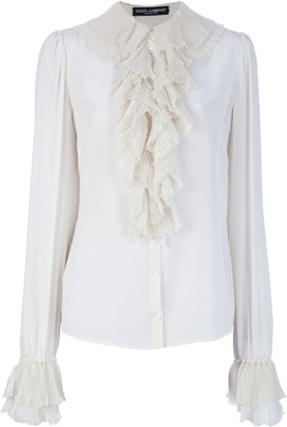 White Silk Blouse With Ruffles 4