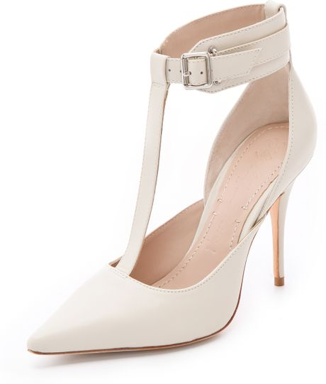 Elizabeth And James Saucy Ankle Cuff Pumps in White (bone) - Lyst