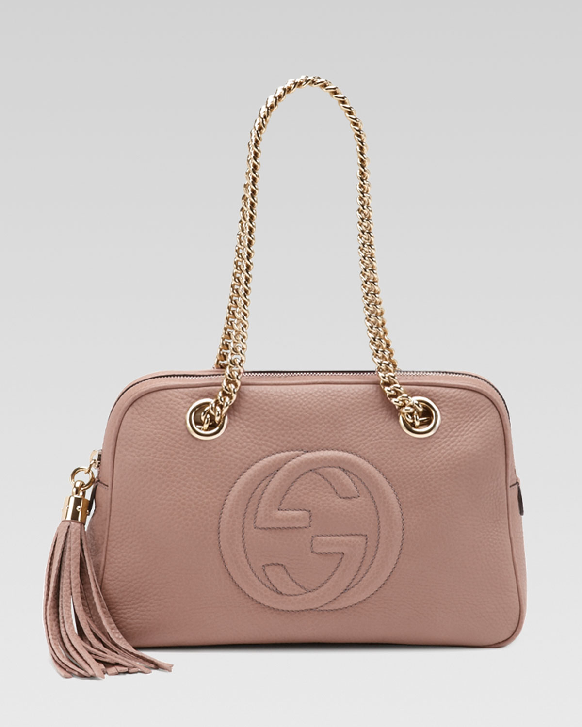 7e65f242ee7b Gucci Soho Leather Doublechainstrap Shoulder Bag Dark Cipria in Pink ...