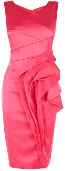 Karen Millen Extreme Waterfall Satin Dress in Pink (fuchsia) - Lyst