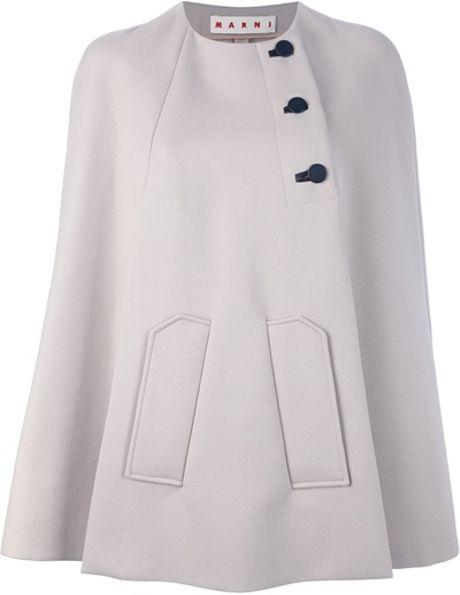 Marni Short Button Cape in Gray (grey)