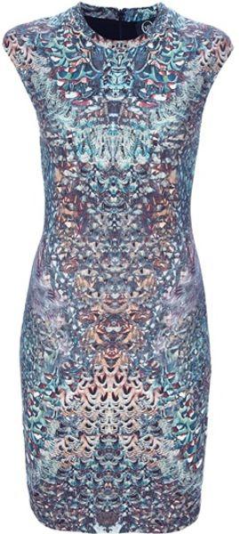 Mcq By Alexander Mcqueen Kaleidoscope Print Dress in Multicolor (blue)