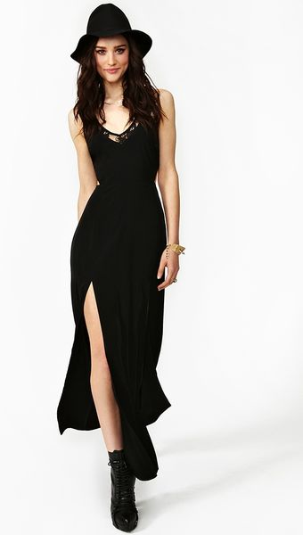 Nasty Gal Slit Lace Maxi Dress In Black Lyst