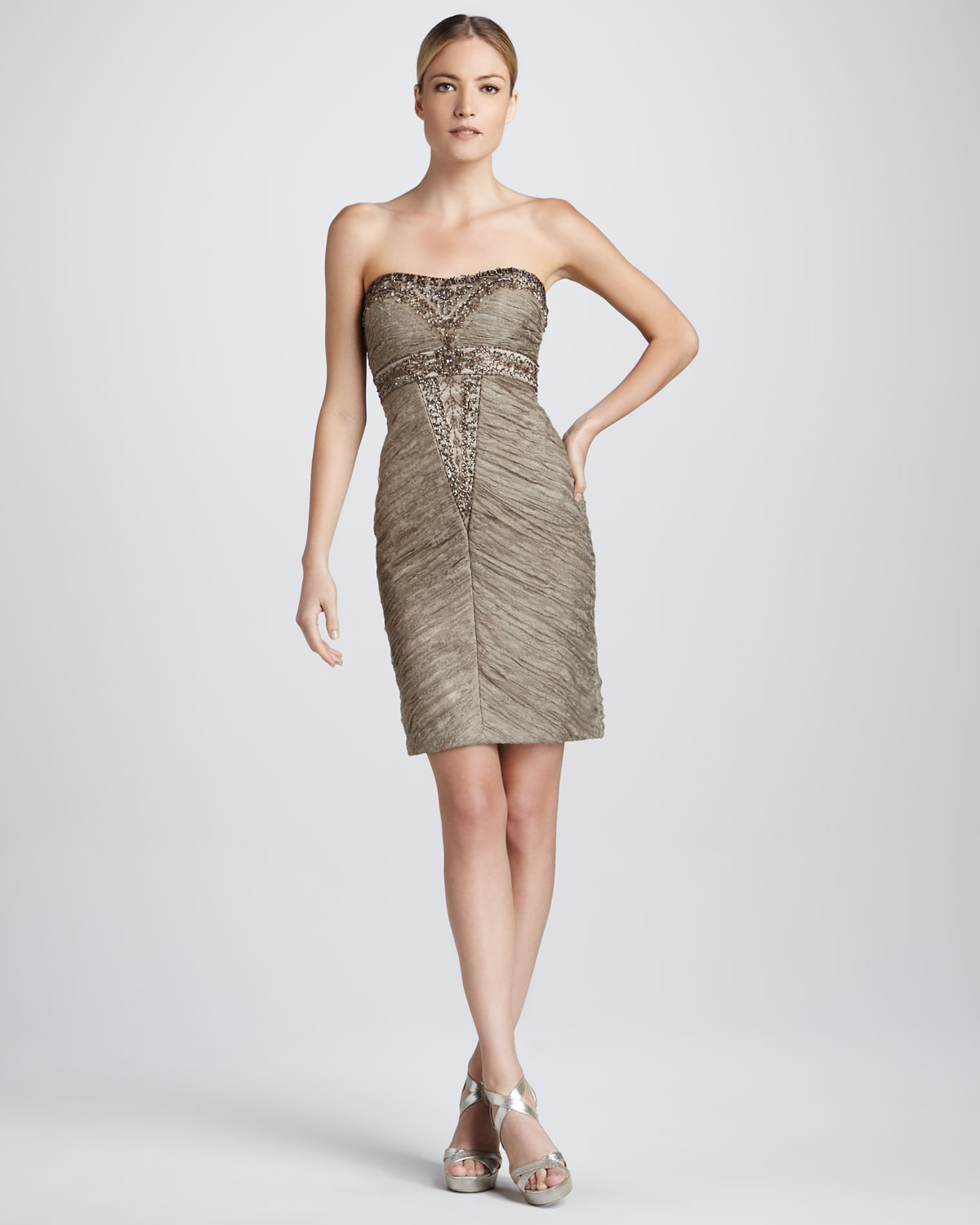Sue wong Beaded Strapless Cocktail Dress in Brown  Lyst