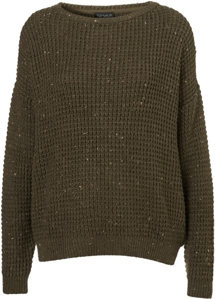 Knitting Pattern Slouch Jumper : Topshop Knitted Speckle Slouch Jumper in Khaki Lyst