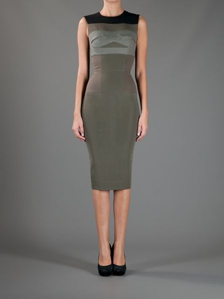 Victoria Beckham Sleeveless Pencil Dress In Khaki Lyst