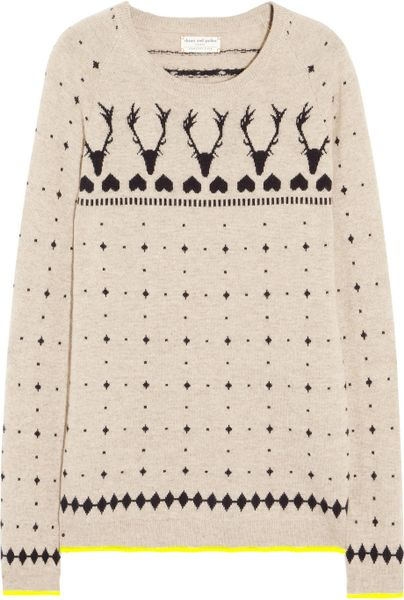 Chinti & Parker Reindeer Intarsia Cashmere Sweater in Beige (oatmeal)