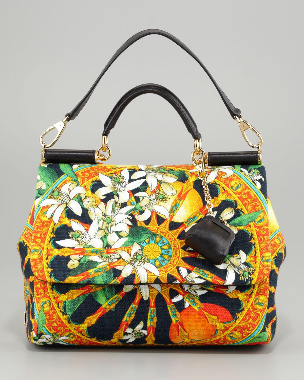 3e756b33468 Dolce & Gabbana Miss Sicily Soft Canvas Print Bag - Lyst