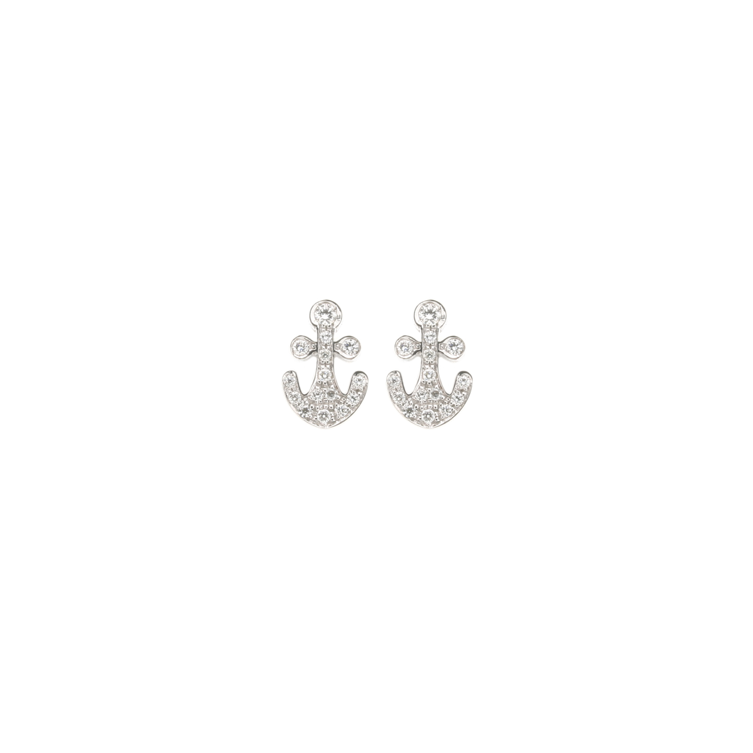 Fred X Kate Moss 18k White Gold Anchor Stud Earrings in ...