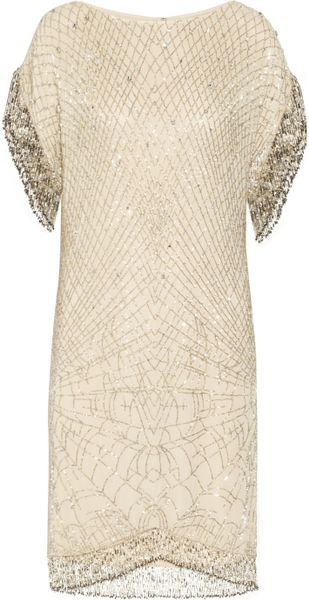 Matthew Williamson Swarovski Crystal Embellished Silk Chiffon Dress in Gold (champagne)
