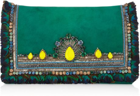 Matthew Williamson Swarovski Crystalembellished Suede Clutch in Green (emerald)