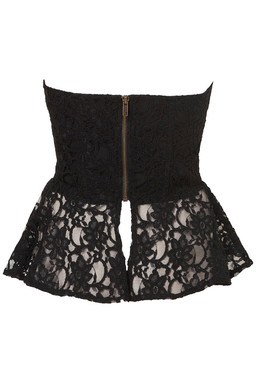Lyst Topshop Lace Peplum Corset In Black