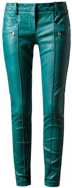 Balmain Leather Biker Trousers in Blue (teal)