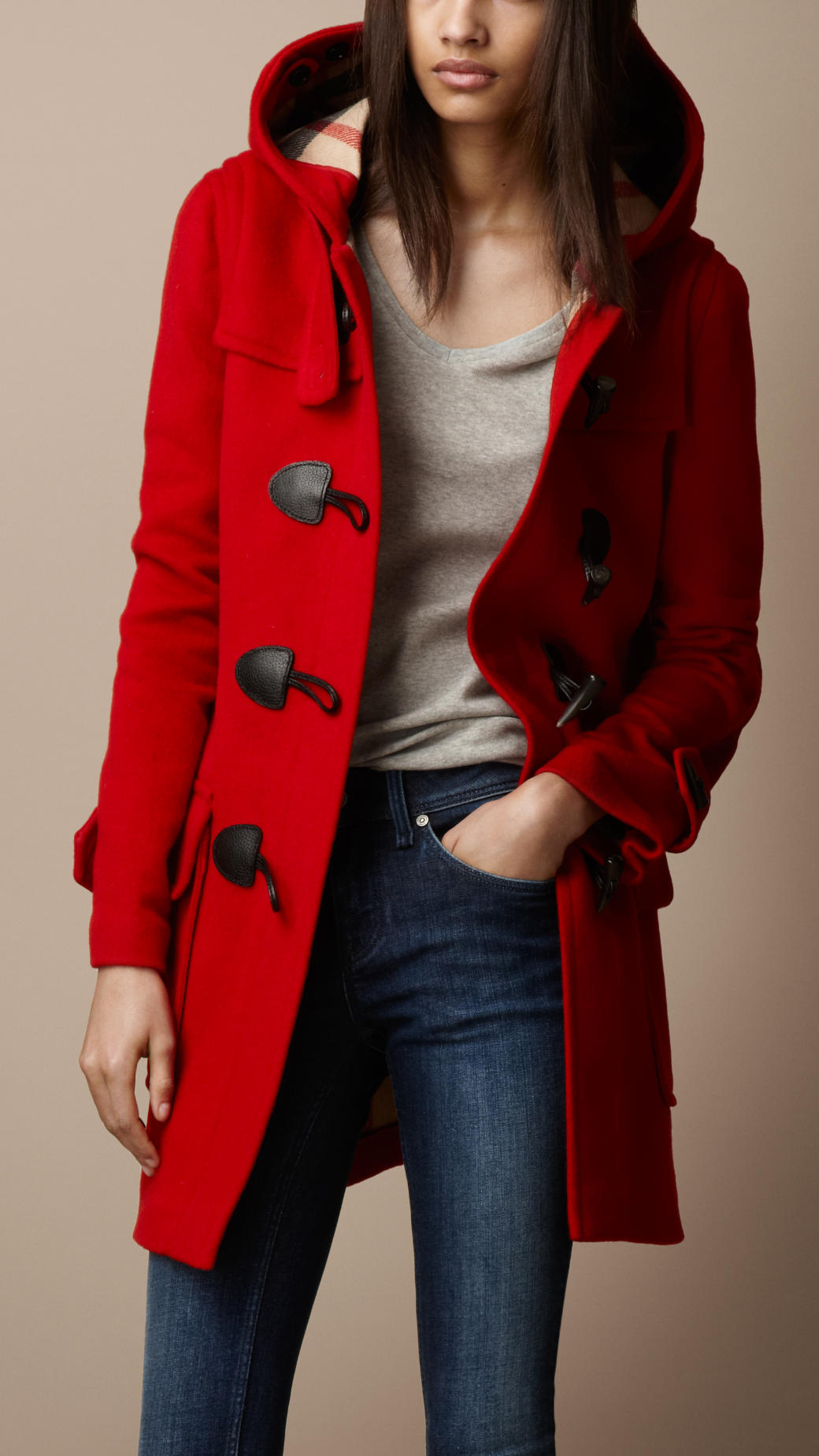 Burberry Wool Duffle Coat in Red | Lyst