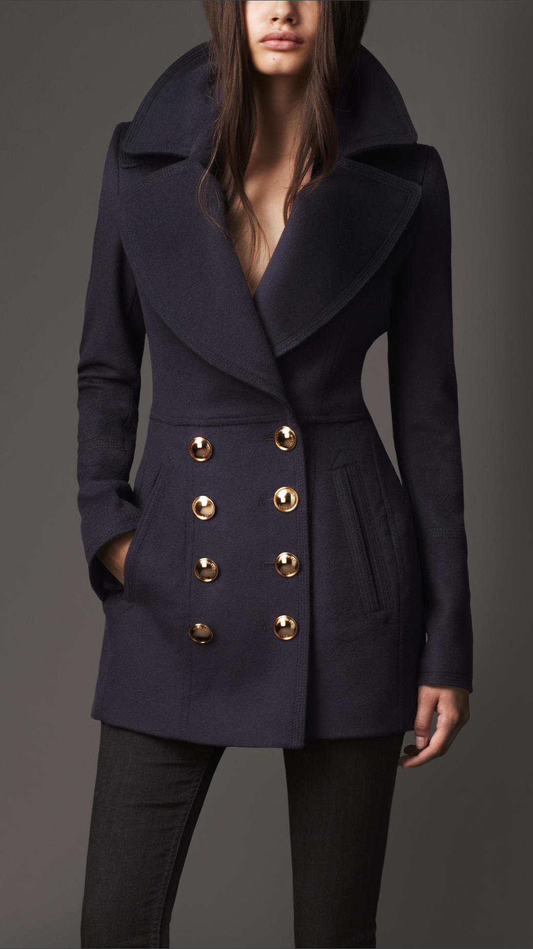 Burberry Wool Cashmere Pea Coat in Blue | Lyst