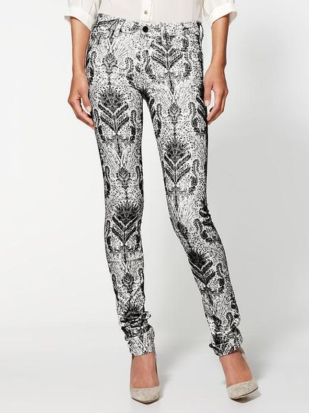 Joe's Jeans The Skinny Flocked Jeans in White (baroque flocking blk/wht	)