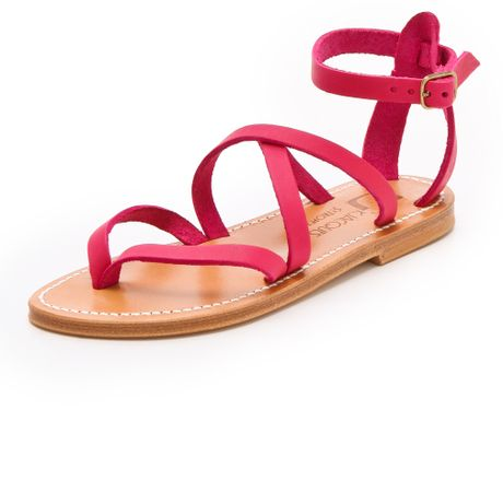 K. Jacques Epicure Crisscross Sandals in Pink (fuxia)