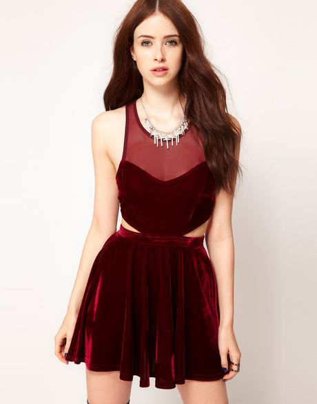 Minkpink Snow Palace Cut Out Velvet Skater Dress in Red (wine)