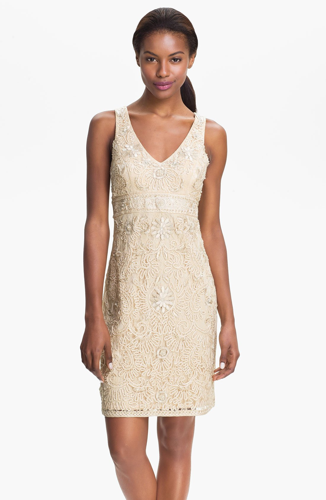 Sue Wong Embellished Sheath Dress In Beige Vanilla Lyst