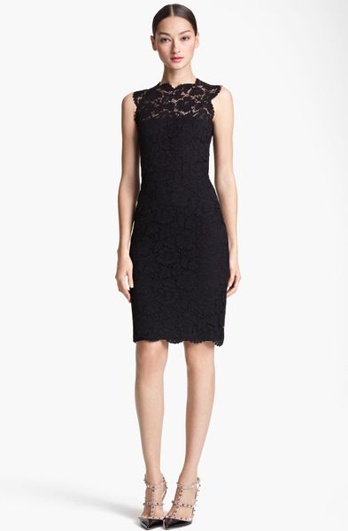 Valentino Lace Sheath Dress in Black