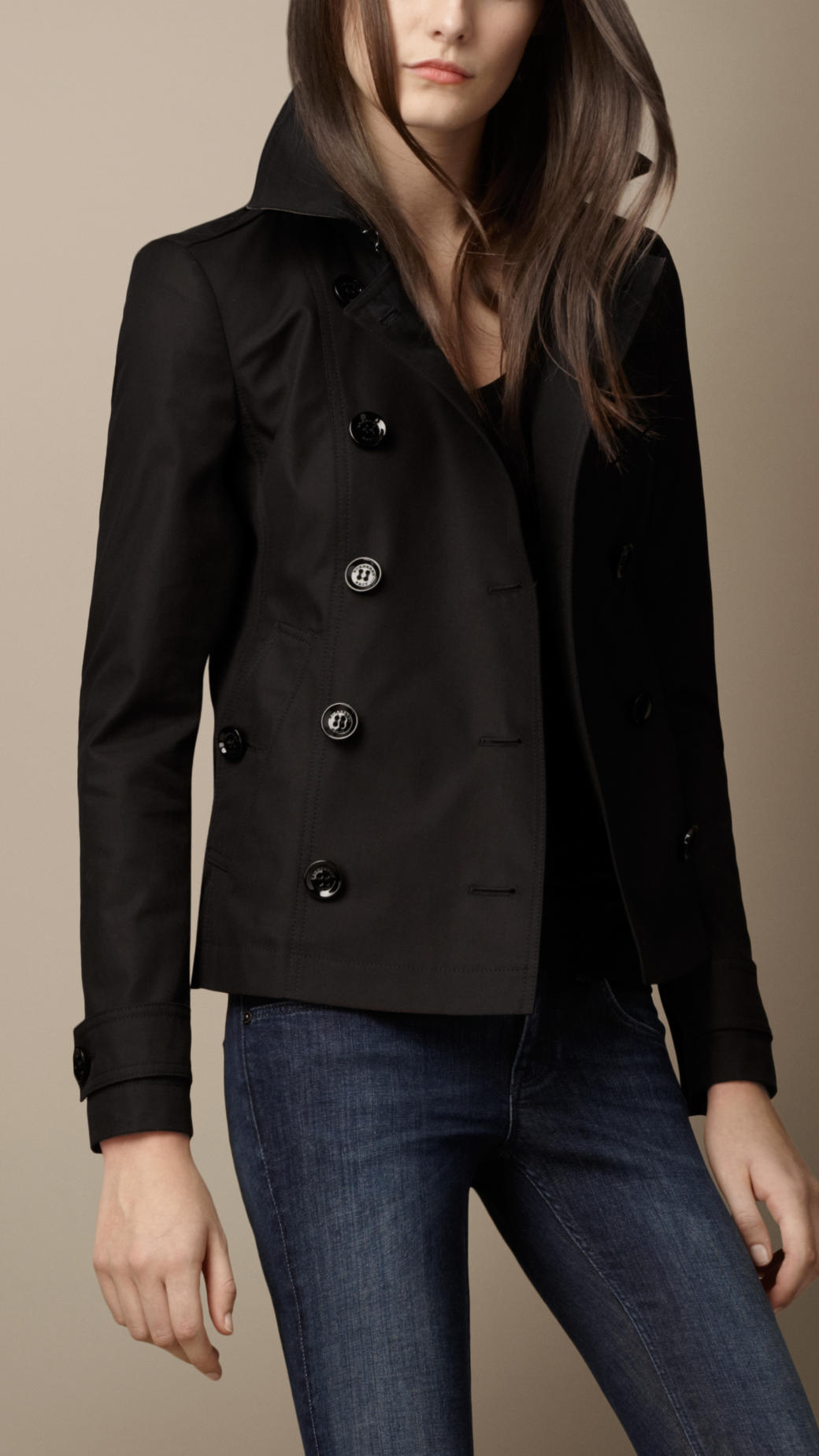 Burberry brit Short Cotton Trench Coat in Black | Lyst