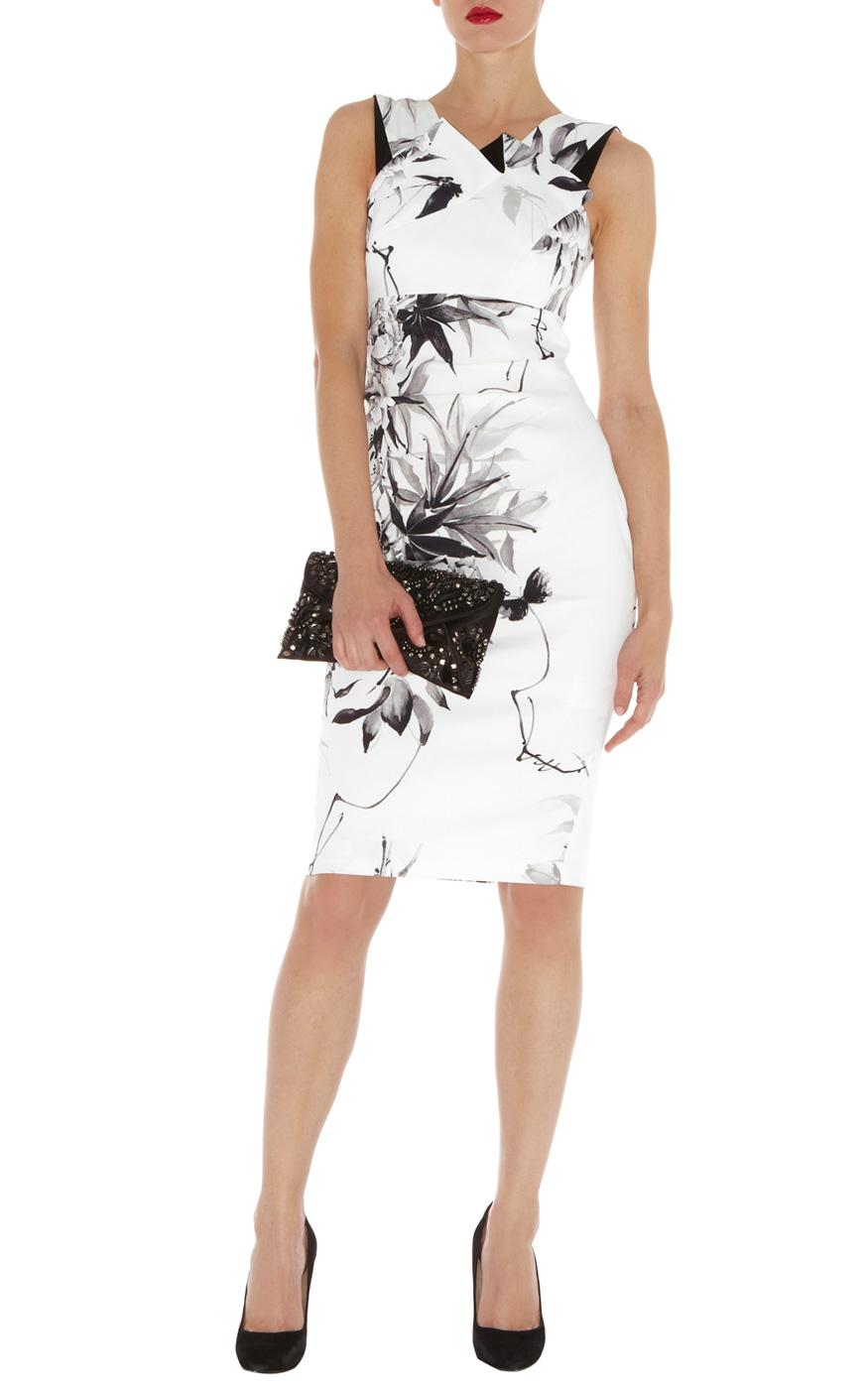 Karen Millen Oriental Floral Print Dress In White Cream