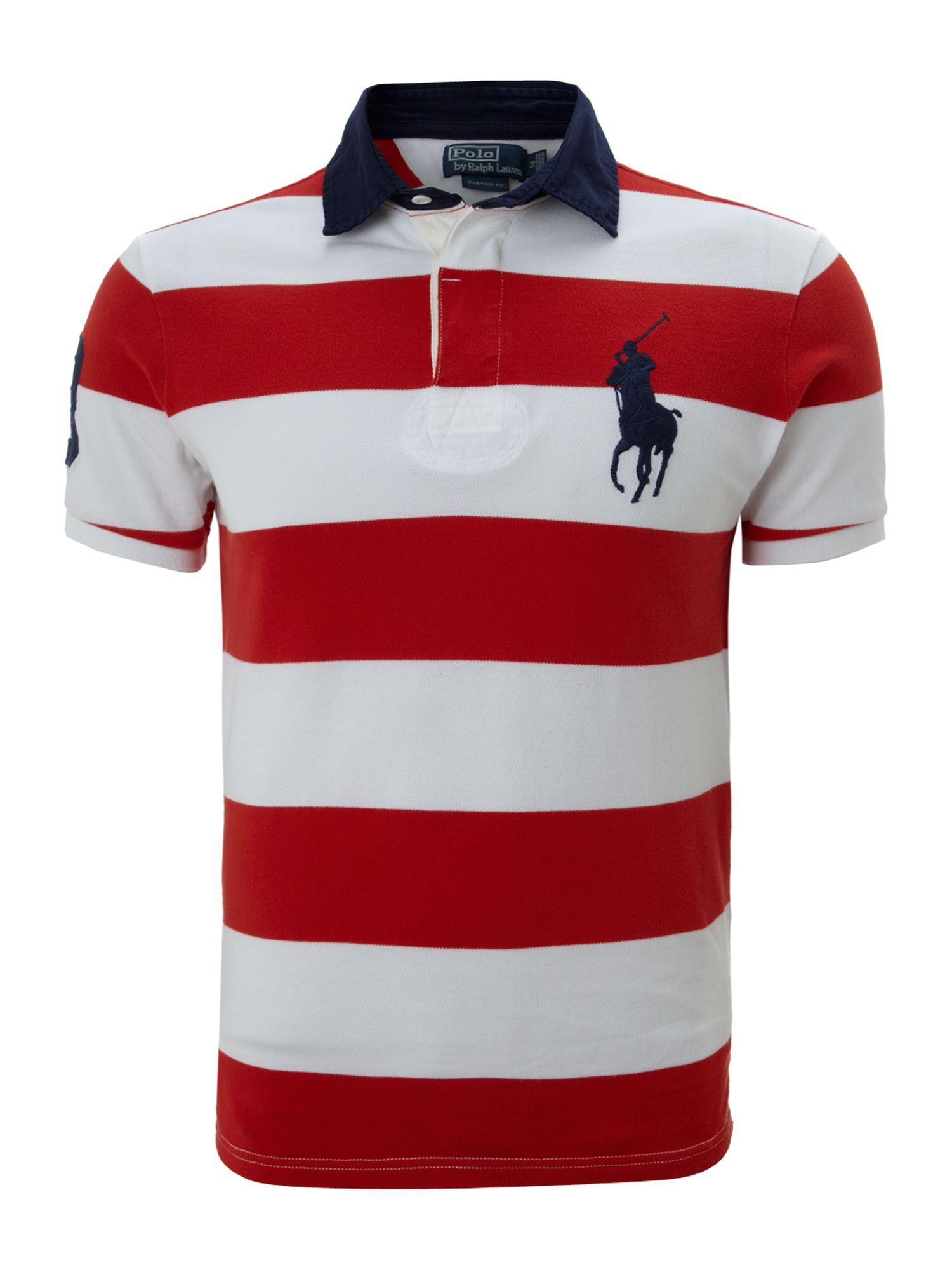 Polo ralph lauren Contrast Collar Block Striped Polo Shirt ...
