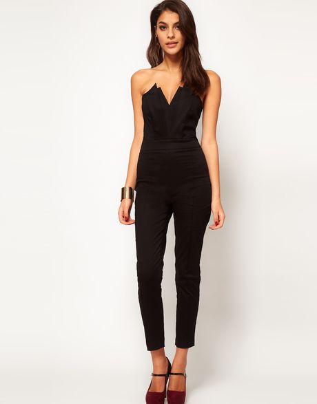 Asos Jumpsuit With Pleat Bust Origami Detail in Black