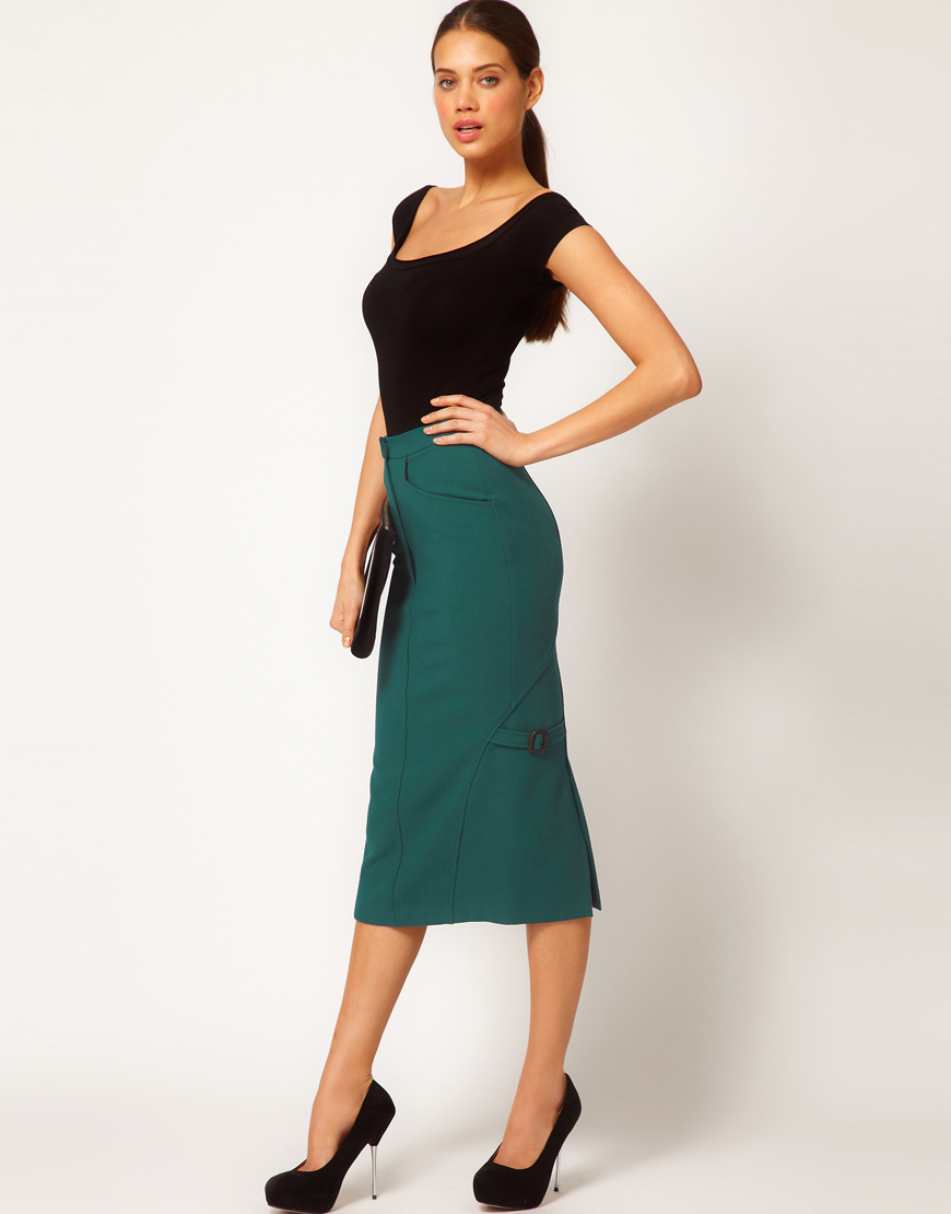 Asos collection Midi Pencil Skirt with Buckles in Green | Lyst