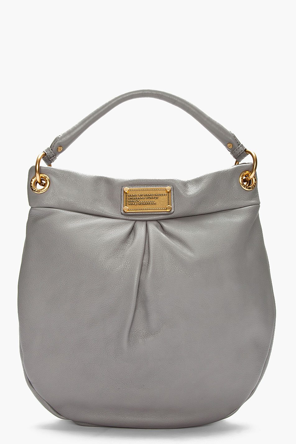 marc by marc jacobs grey leather hillier hobo bag in gray lyst. Black Bedroom Furniture Sets. Home Design Ideas