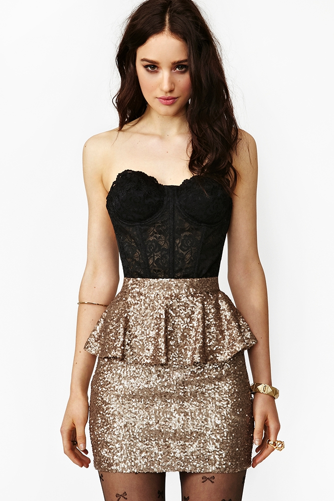 Nasty gal Peplum Sequin Skirt in Metallic | Lyst