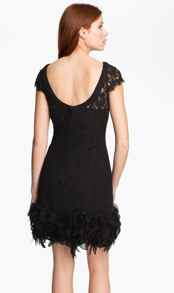 Jessica Simpson Lace Feather Dress In Black Lyst
