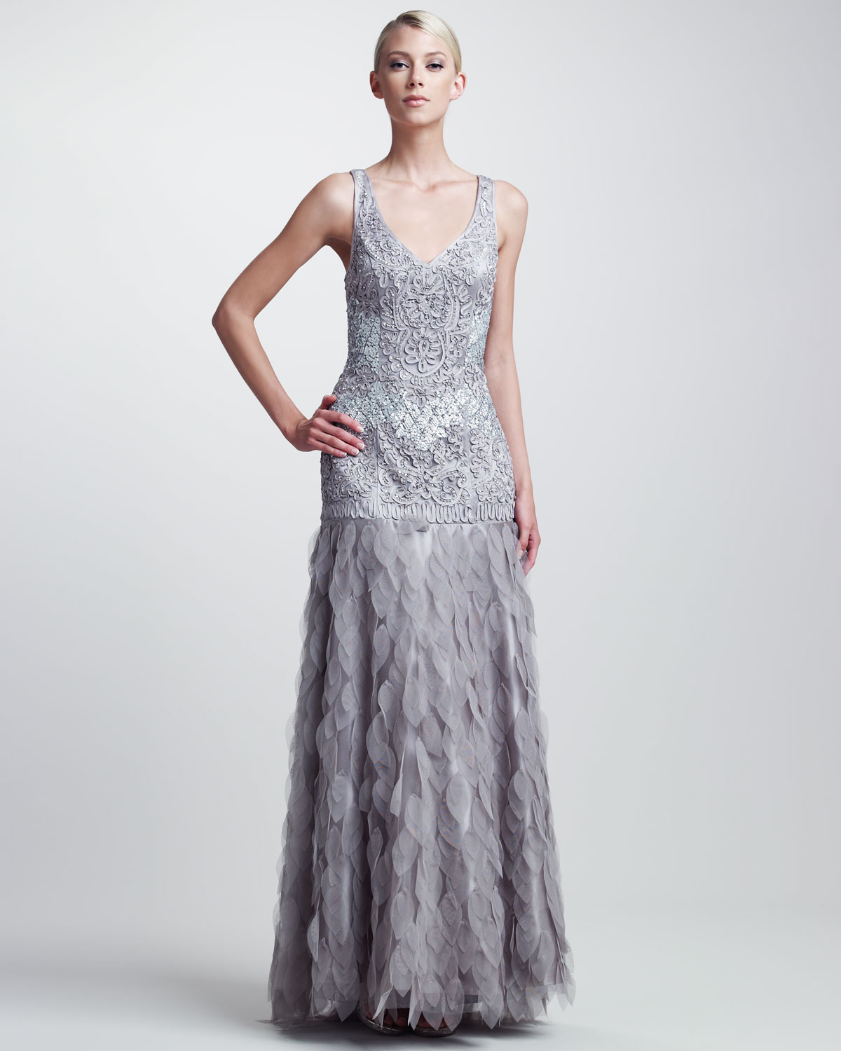 Lyst - Sue Wong Beaded Organzaskirt Gown in Gray