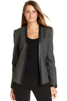 Calvin Klein Long sleeve Faux leather trim Openfront - Lyst
