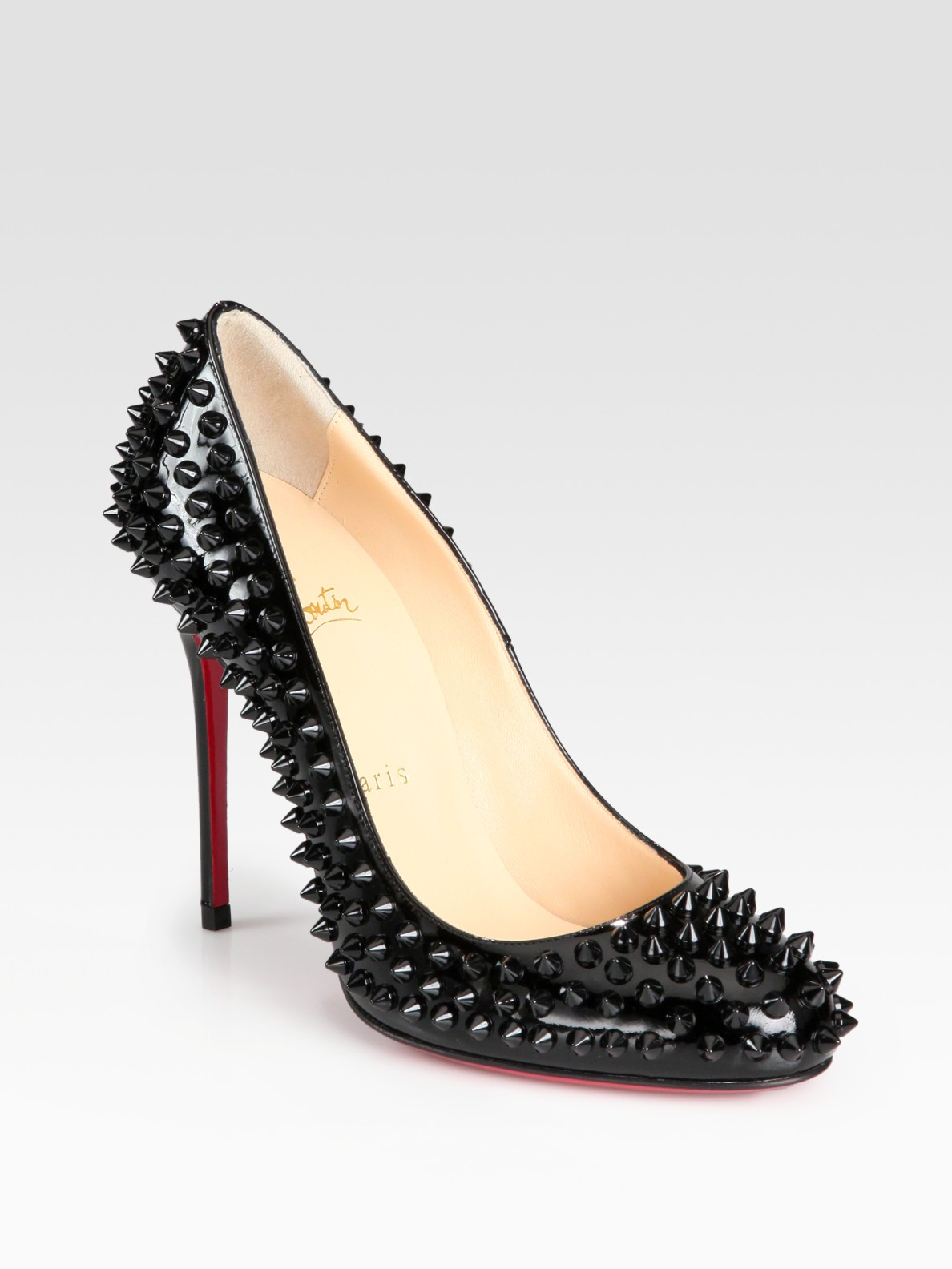 34fc5a6f88d ... top quality lyst christian louboutin fifi spiked patent leather pumps  in black 73713 a56b6