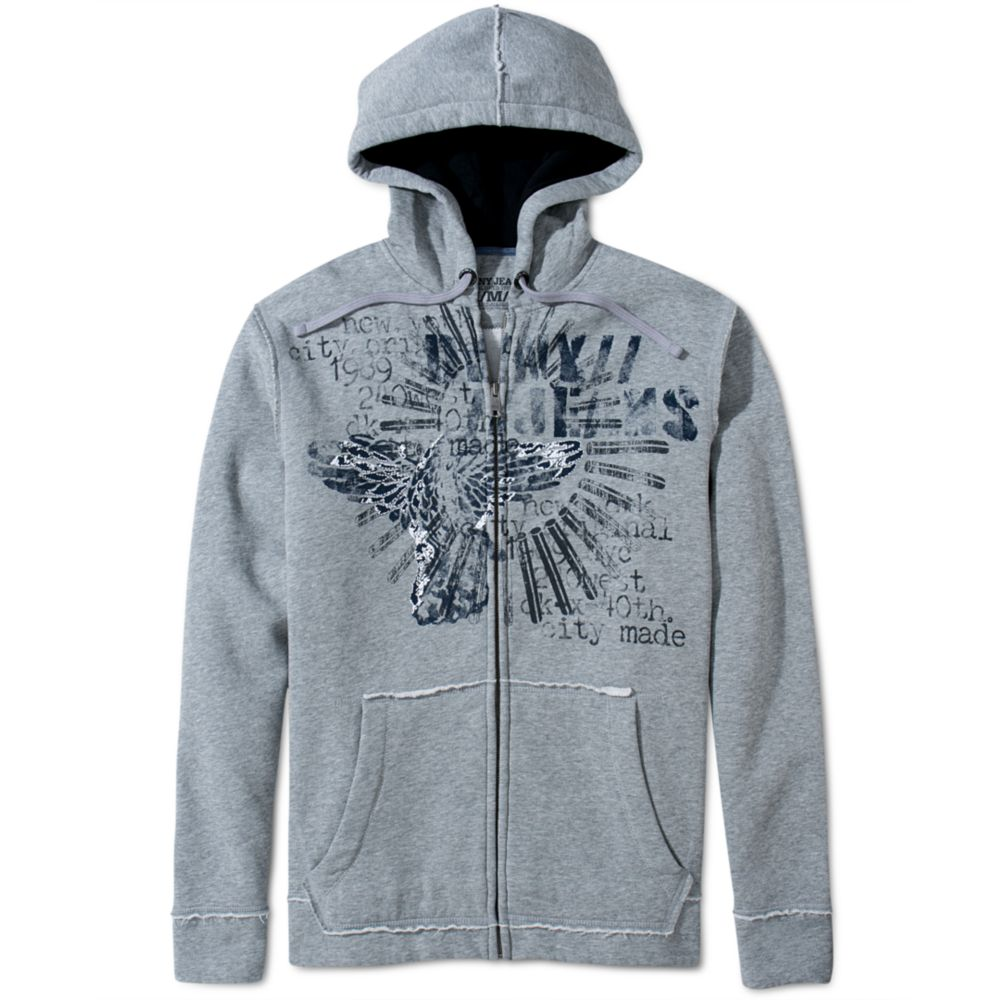 a17e0cf9120f Lyst - DKNY Graphic Fleece Zip Up Hoodie in Gray for Men