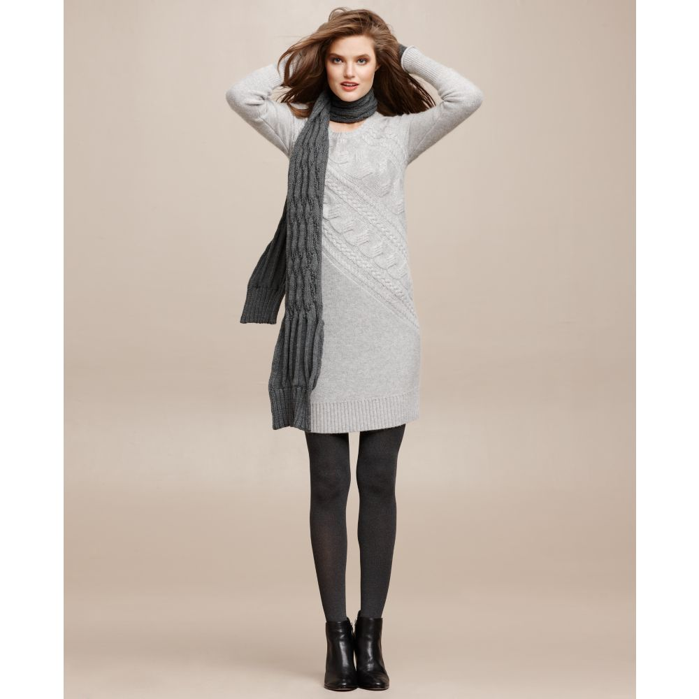 26b655d1559 Lyst - DKNY Long Sleeve Cable Knit Sweater Dress in Gray